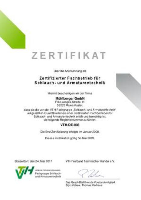 Zertifikat über die Anerkennung als Zertifizierter Fachbetrieb für Schlauch- und Armaturentechnik